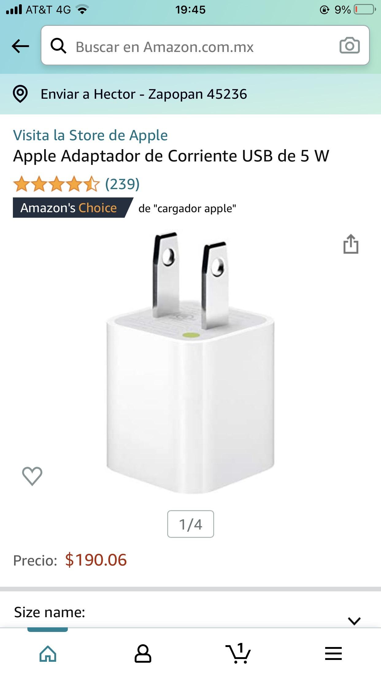 Amazon: Apple Adaptador de Corriente USB de 5 W