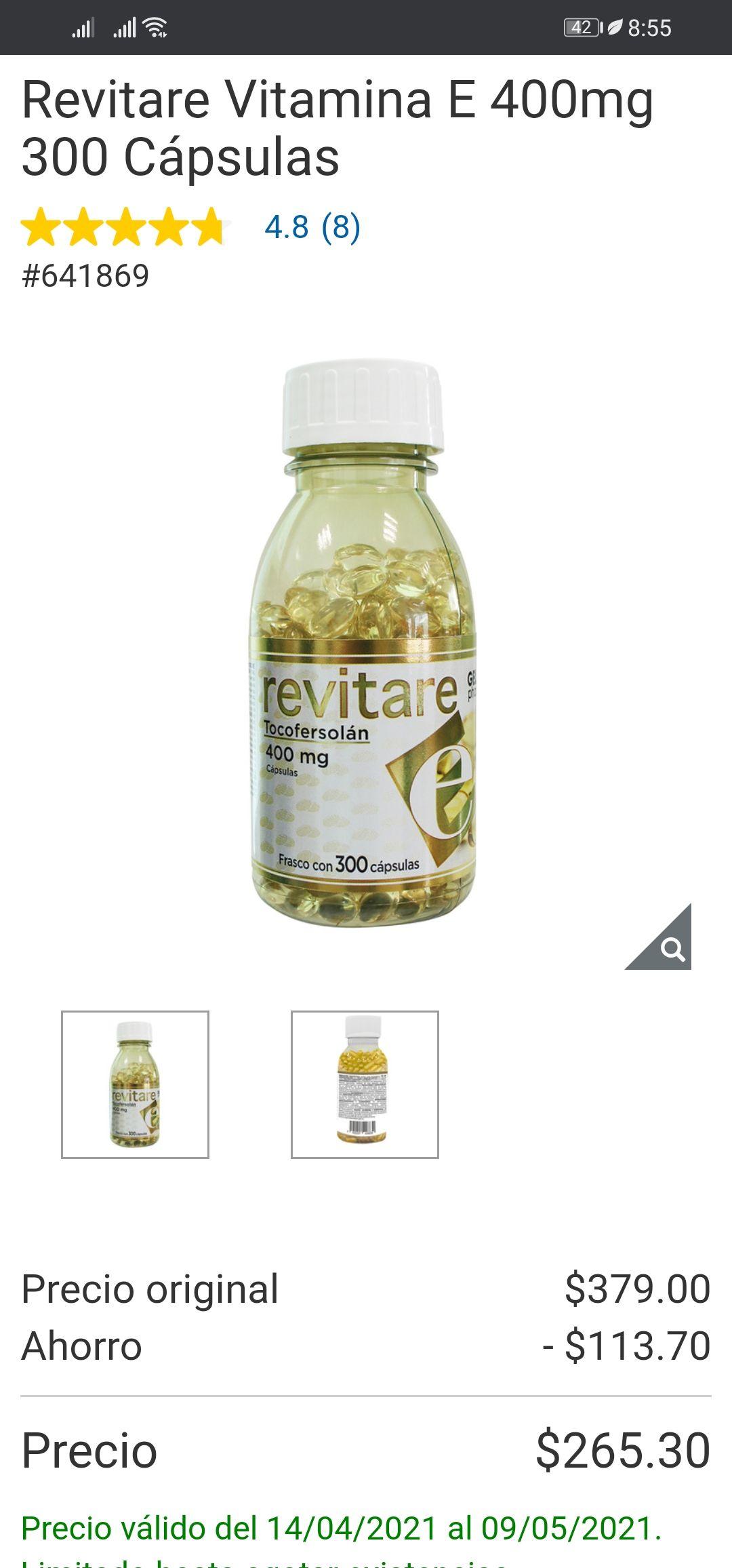 Costco: Revitare vitamina e 400mg, frasco con 300 cápsulas