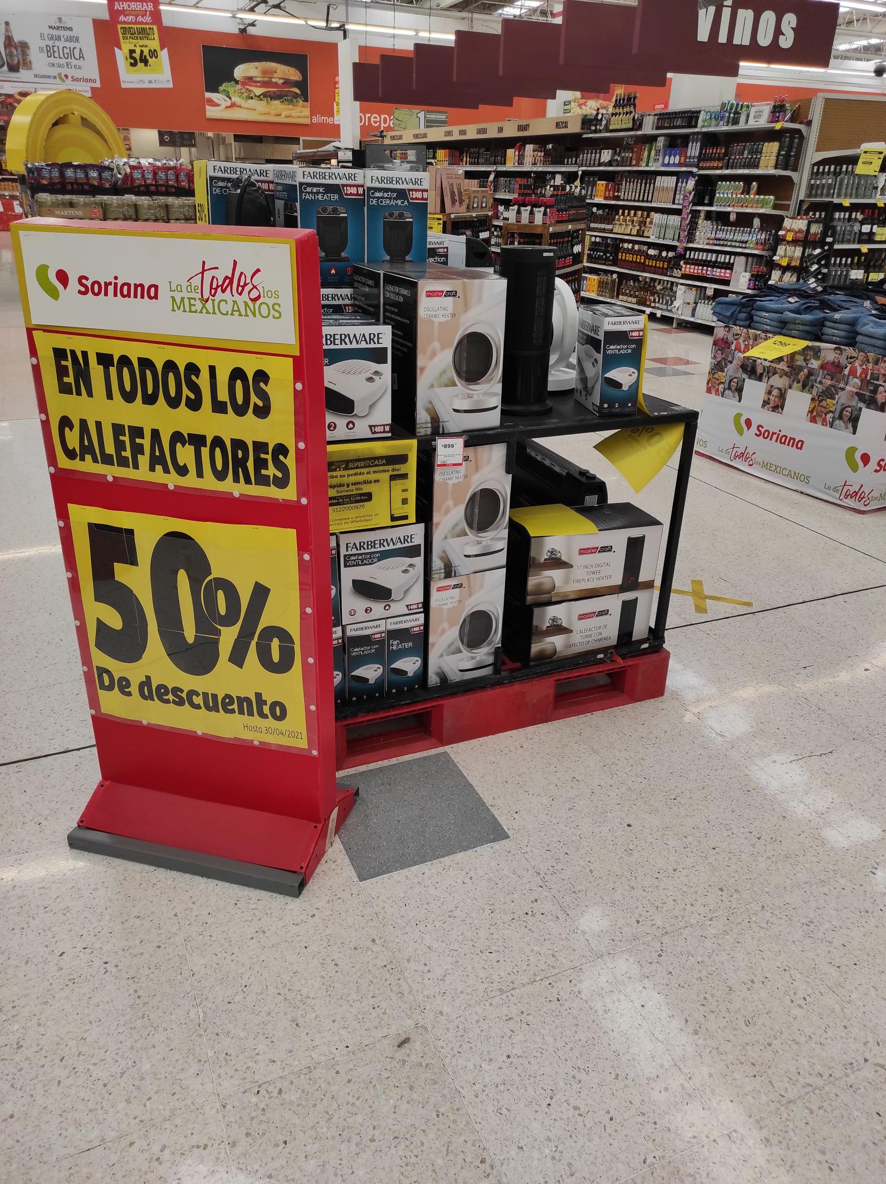 Soriana Calefactores a mitad de precio