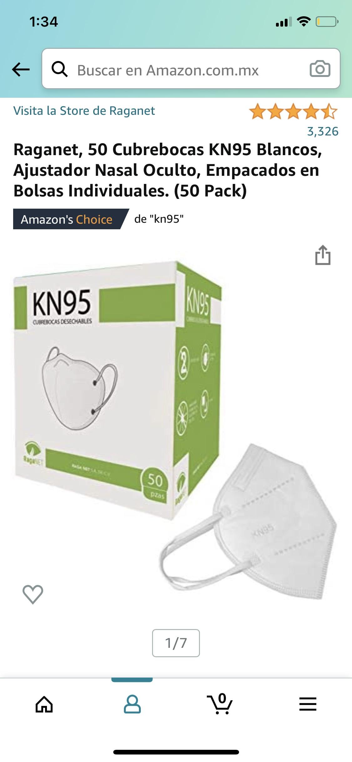 Amazon: Raganet, 50 Cubrebocas KN95 Blancos, Ajustador Nasal Oculto, Empacados en Bolsas Individuales. (50 Pack)