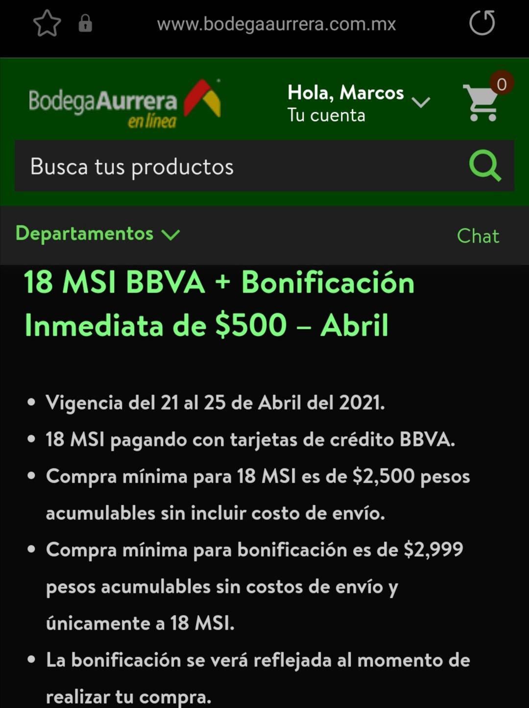Bodega Aurrera y Walmart : Bonificación $500 BBVA 18 msi, acumulable a 10% días BBVA