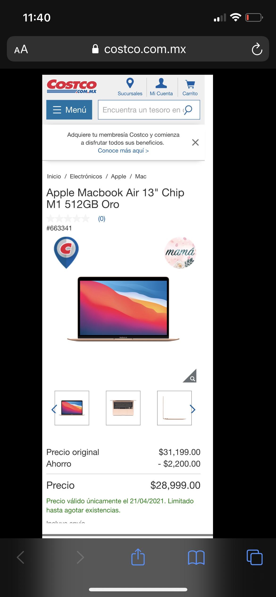 """Costco: Apple Macbook Air 13"""" Chip M1 512GB Oro (Pagando con BBVA)"""