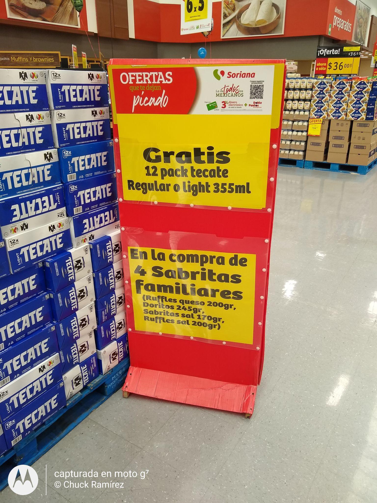 Soriana: Cerveza gratis en la compra de botana