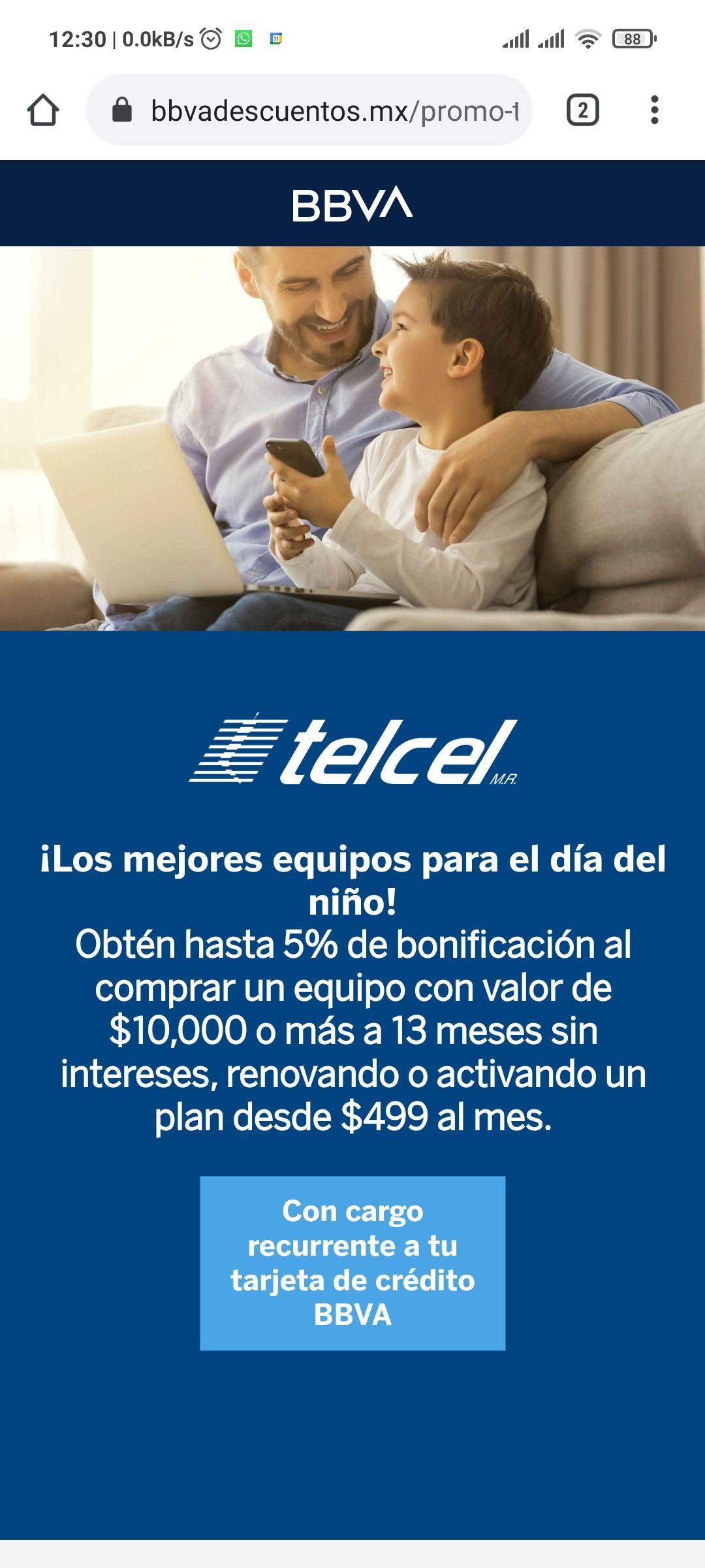 Telcel + BBVA: Bonificación del 5% al renovar con un equipo de $10 mil o más