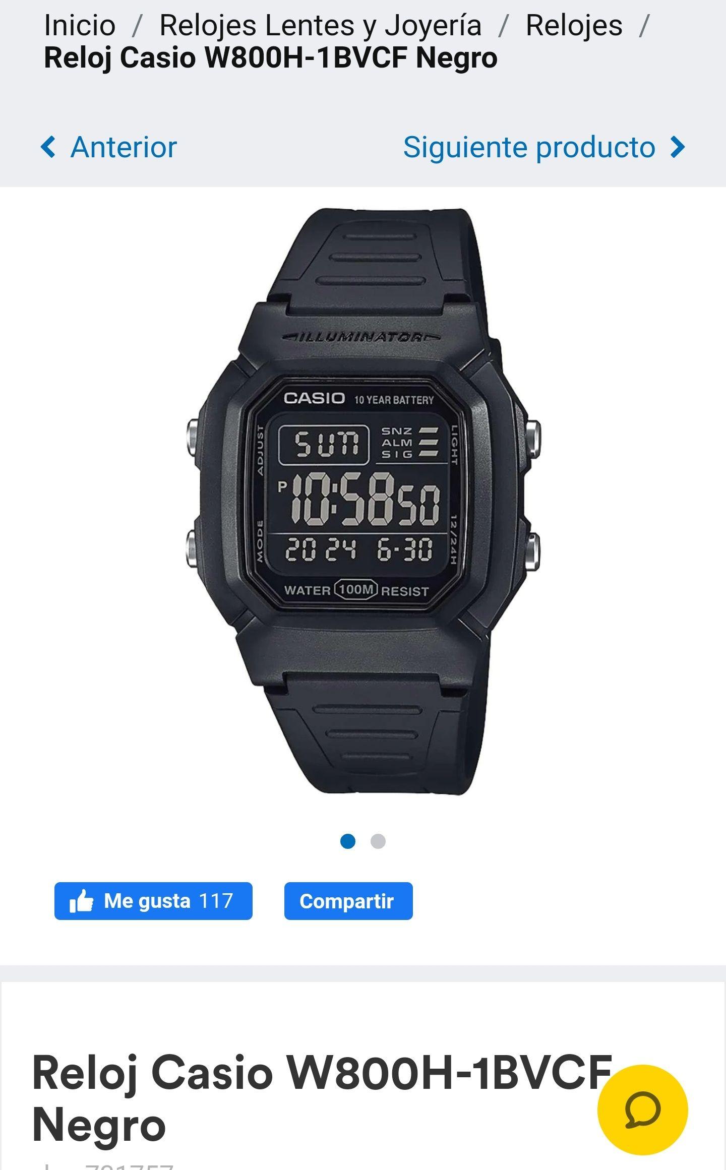 Coppel: Reloj Casio W800H-1BVCF Negro