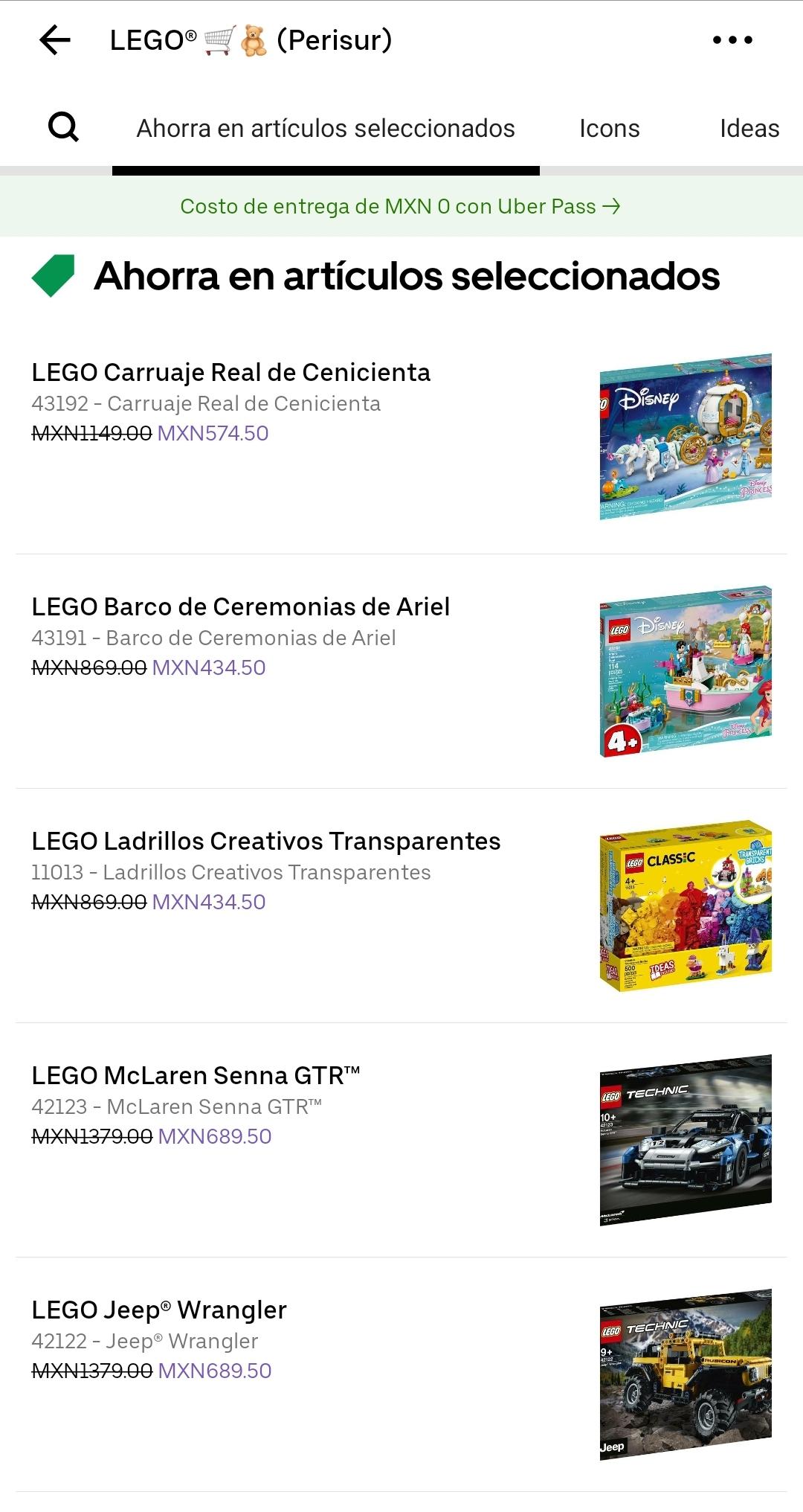 Uber Eats: Descuentos en Lego (varios sets)