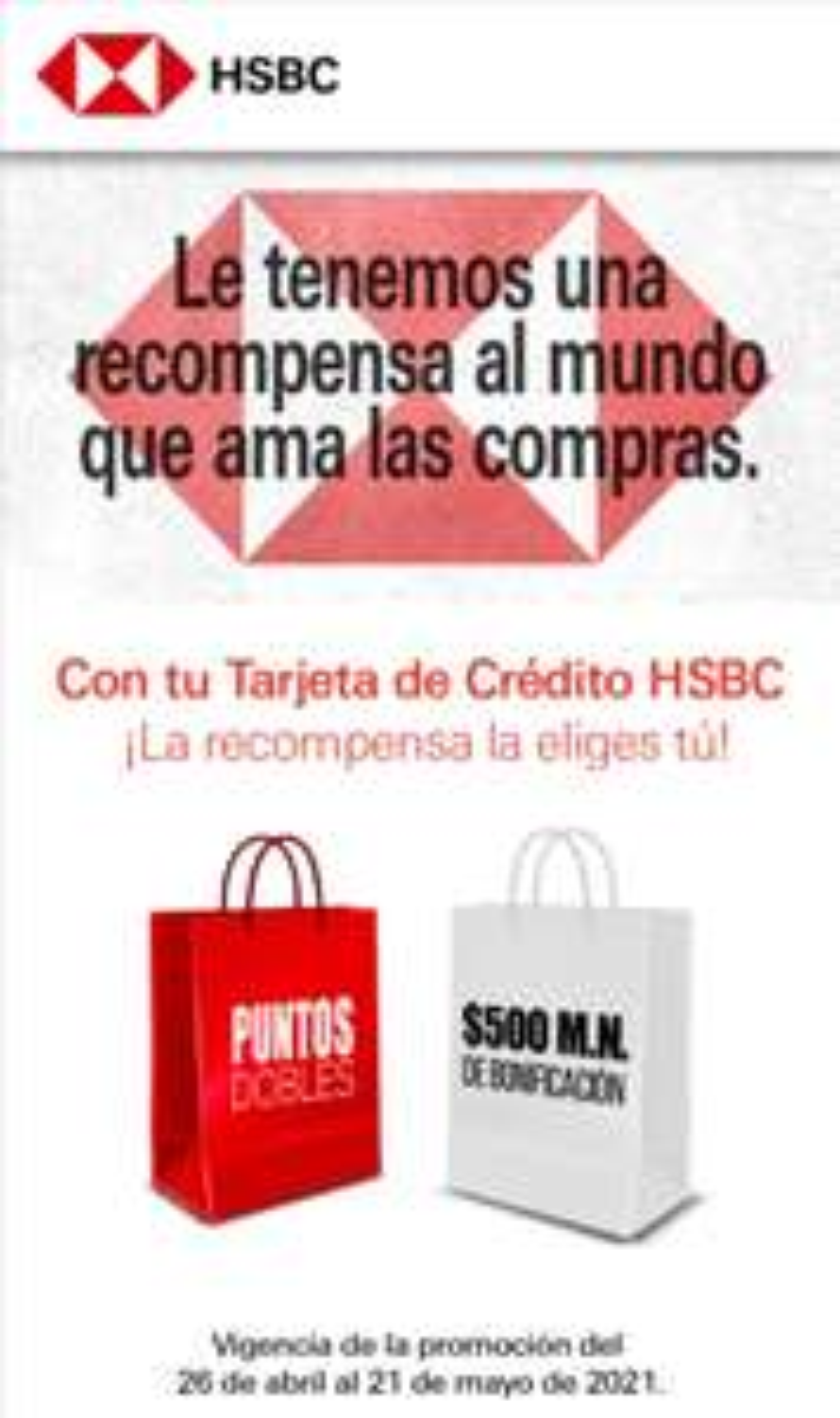 HSBC: Recompensa de $500 o puntos dobles programa Mas
