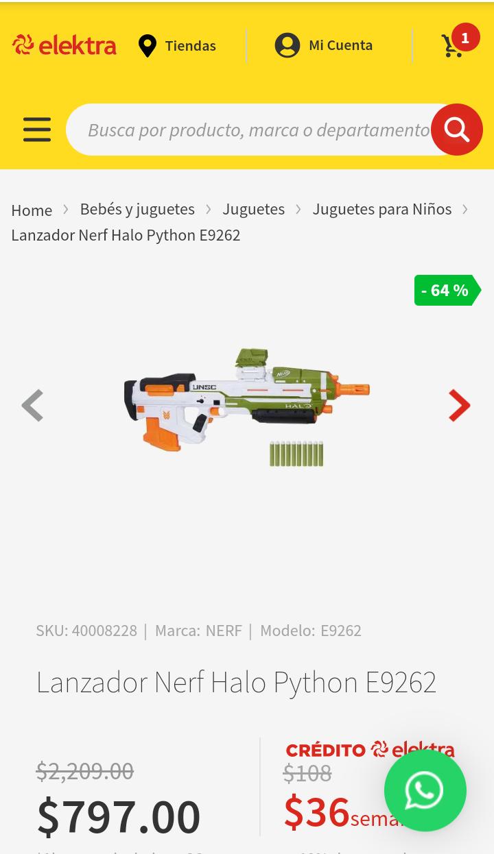 Elektra Lanzador Nerf Halo Python E9262