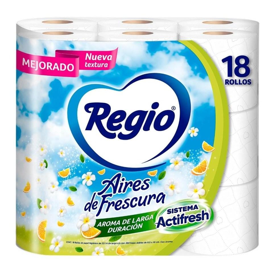 Walmart en línea: Papel higiénico Regio Aires de Frescura 18 Rollos en $69.90