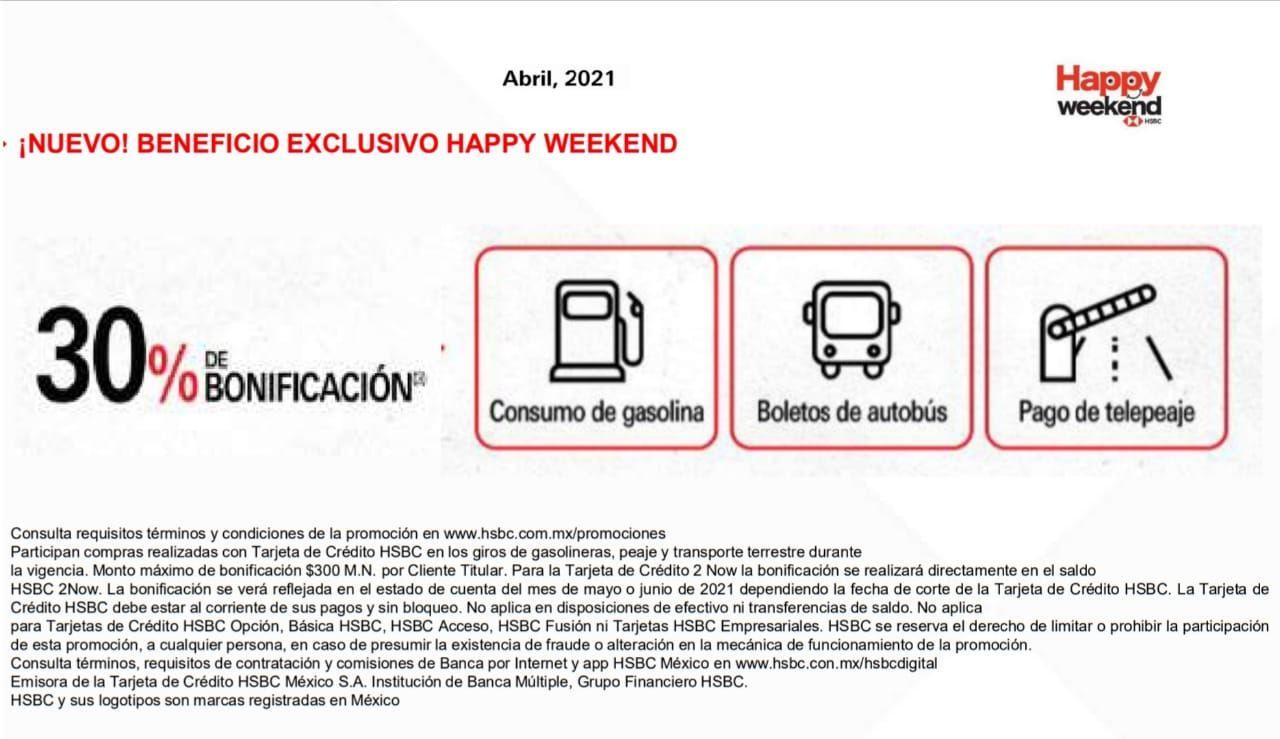 Bonificación HSBC happy weekend 30% En compra de gasolina, peaje