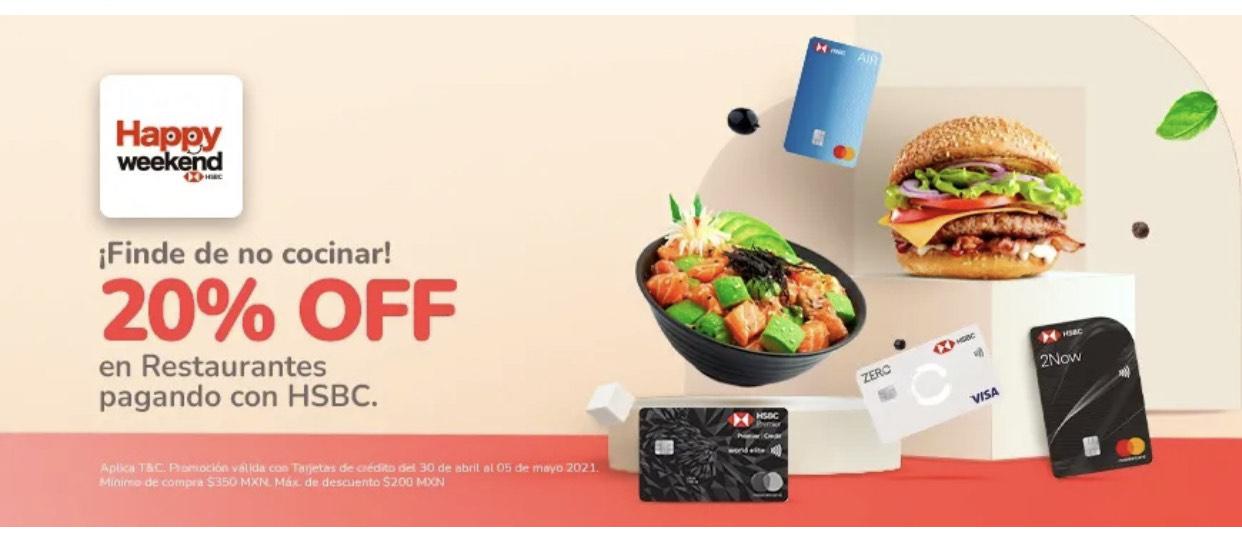 Rappi: 20% de Descuento en Restaurantes con HSBC