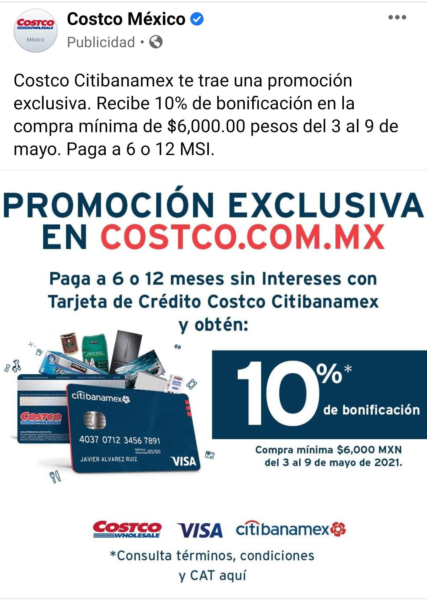 Bonificación en Costco 10% con citibanamex