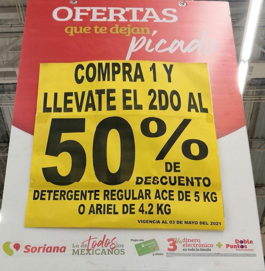 Soriana Híper y Súper: 2 x 1½ en Detergente regular Ace 5 kg ó Ariel 4.2 kg