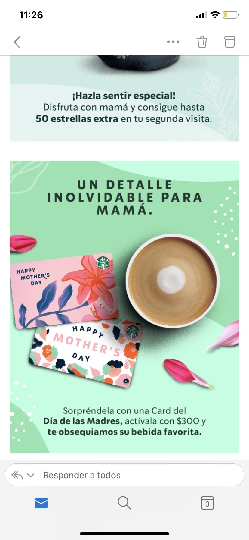 Starbucks: bebida grande gratis al activar tarjeta Día de las Madres con $300 y 50 estrellas en tu segunda visita