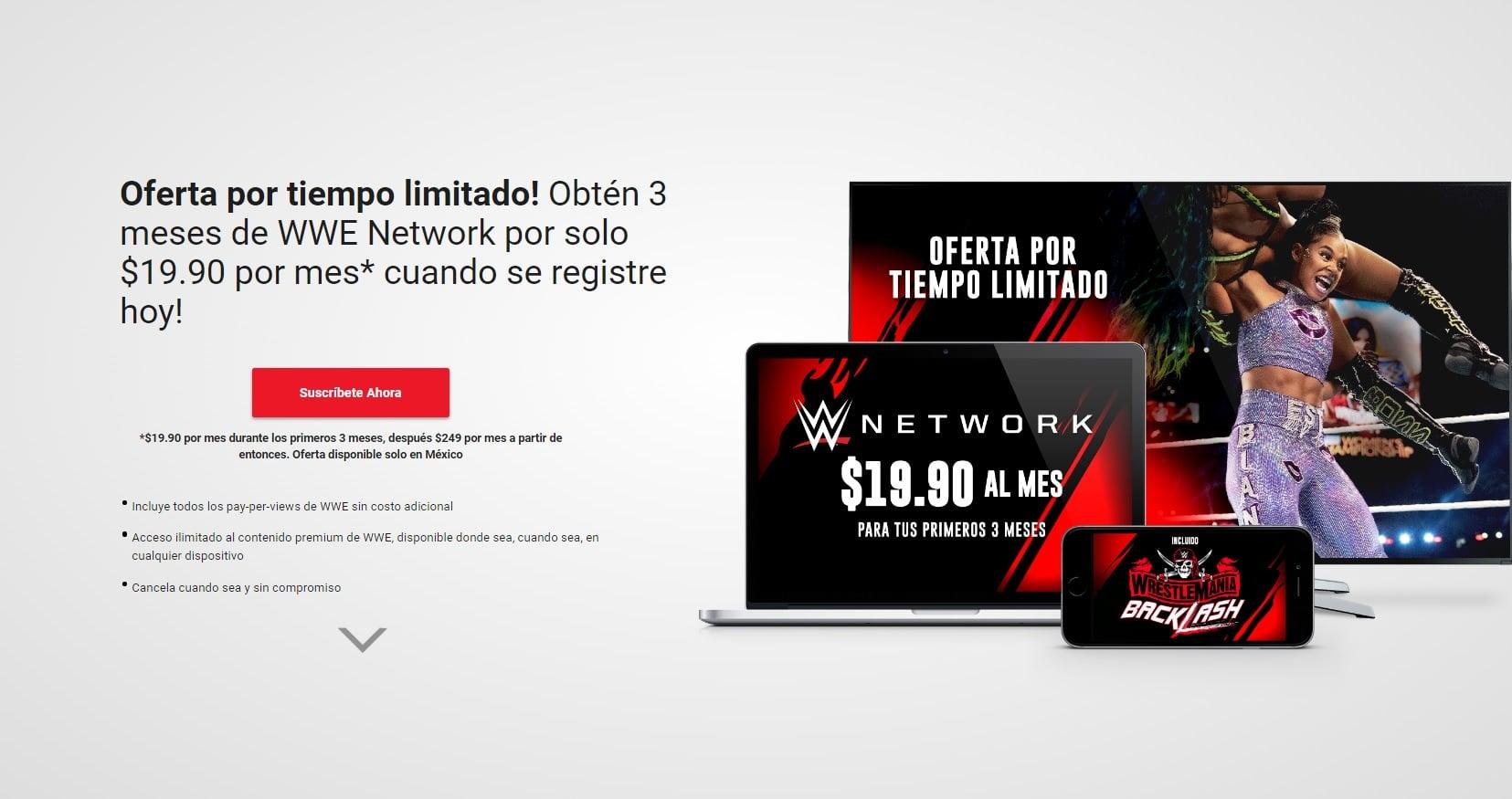 WWE Network 3 meses por 20 pesos cada mes