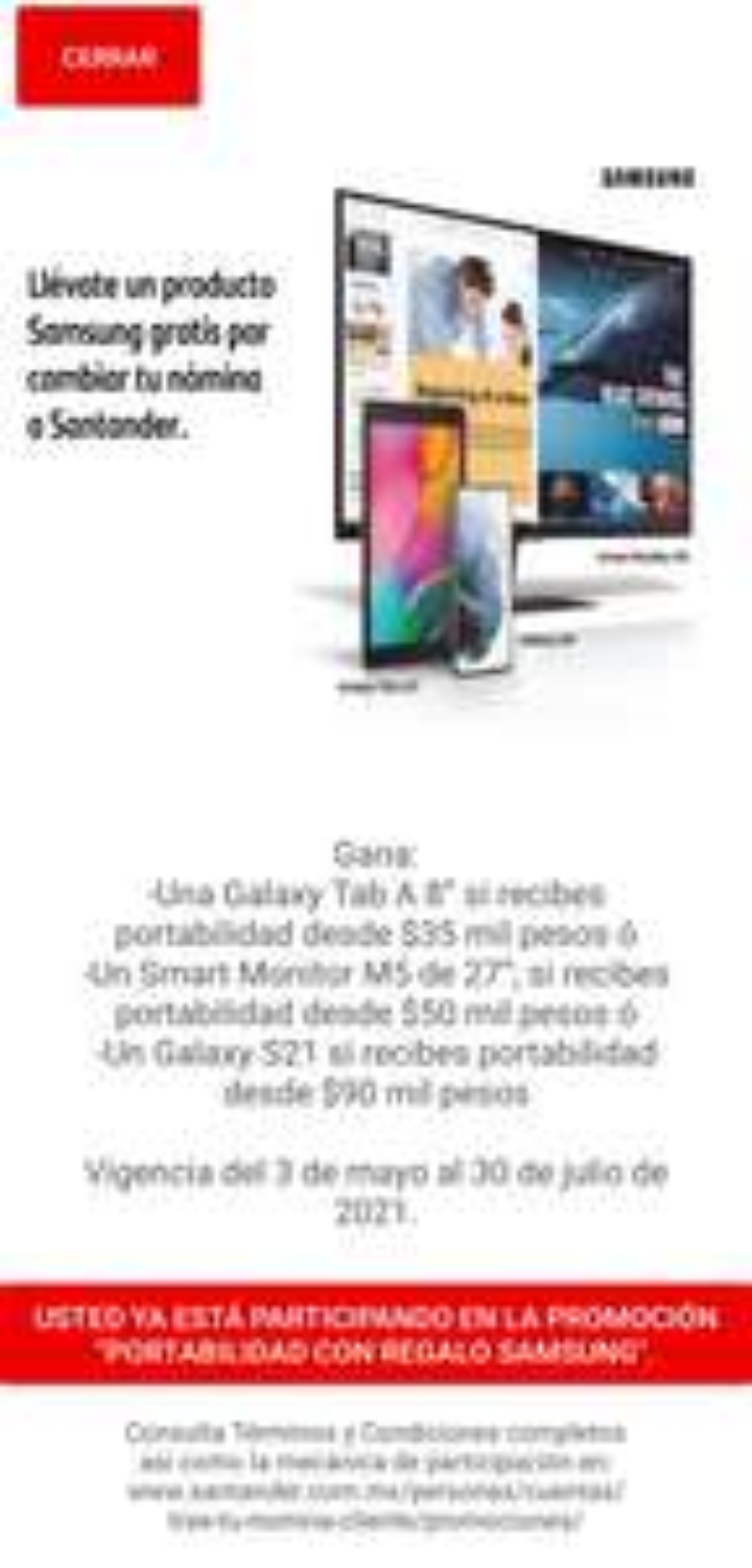 Porta tu nómina a Santander y llevate gratis una Galaxy Tab A 8, Smart Monitor M5 o Galaxy S21