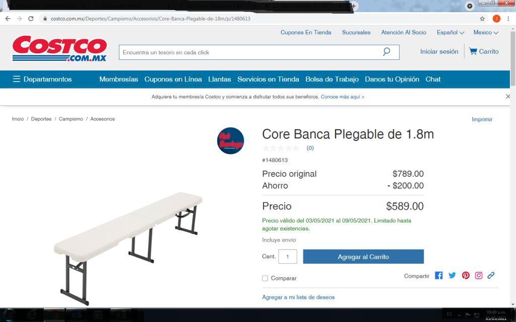 COSTCO Core Banca Plegable de 1.8m