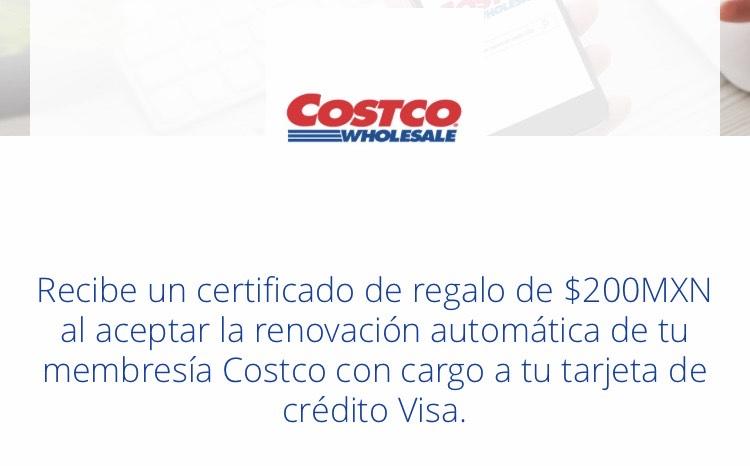 Certificado de regalo de $200MXN con renovación automática de membresía Costco con tarjeta de crédito Visa
