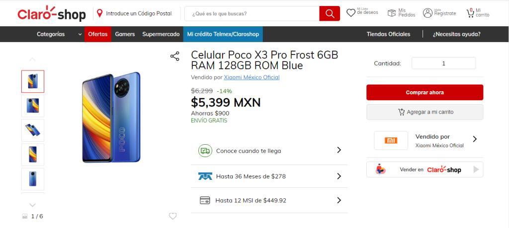 Claro Shop: Poco X3 Pro Frost 6GB/128GB con TDC Banorte Digital