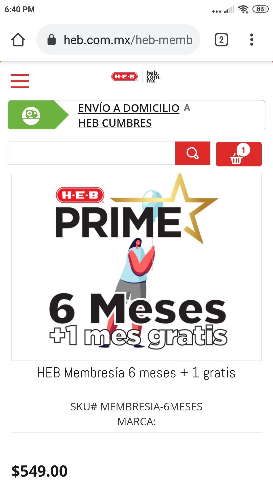 HEB: Membresias HEB prime 6+ 1 mes gratis