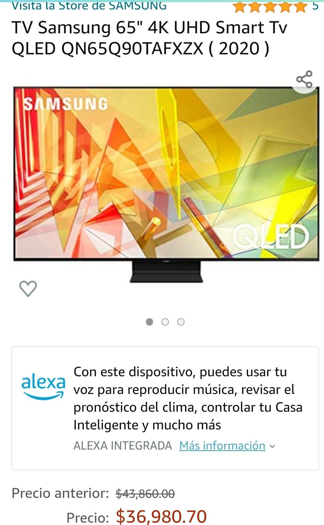 "Amazon: TV Samsung QN65Q90TAFXZX 65"" más Consola Xbox series S"