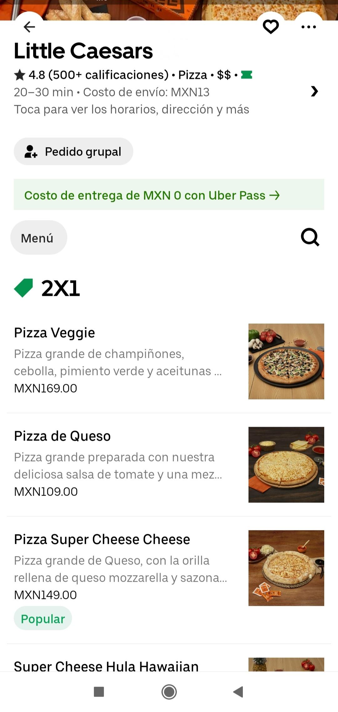 2x1 pizzas de Little Caesars por Uber Eats