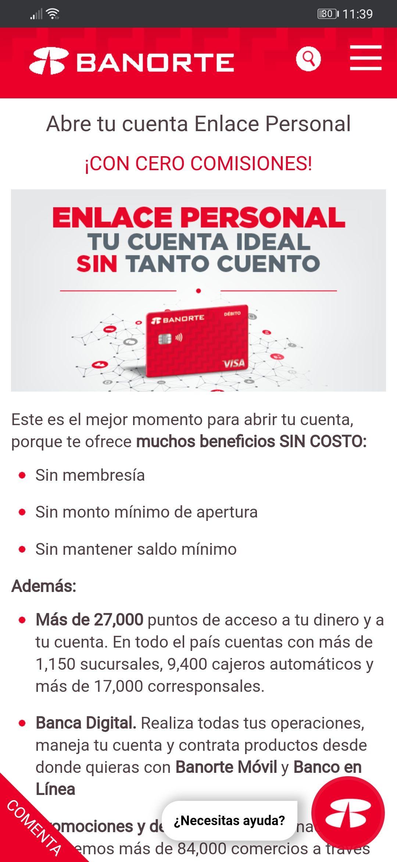 Banorte, cuenta Enlace personal sin deposito inicial