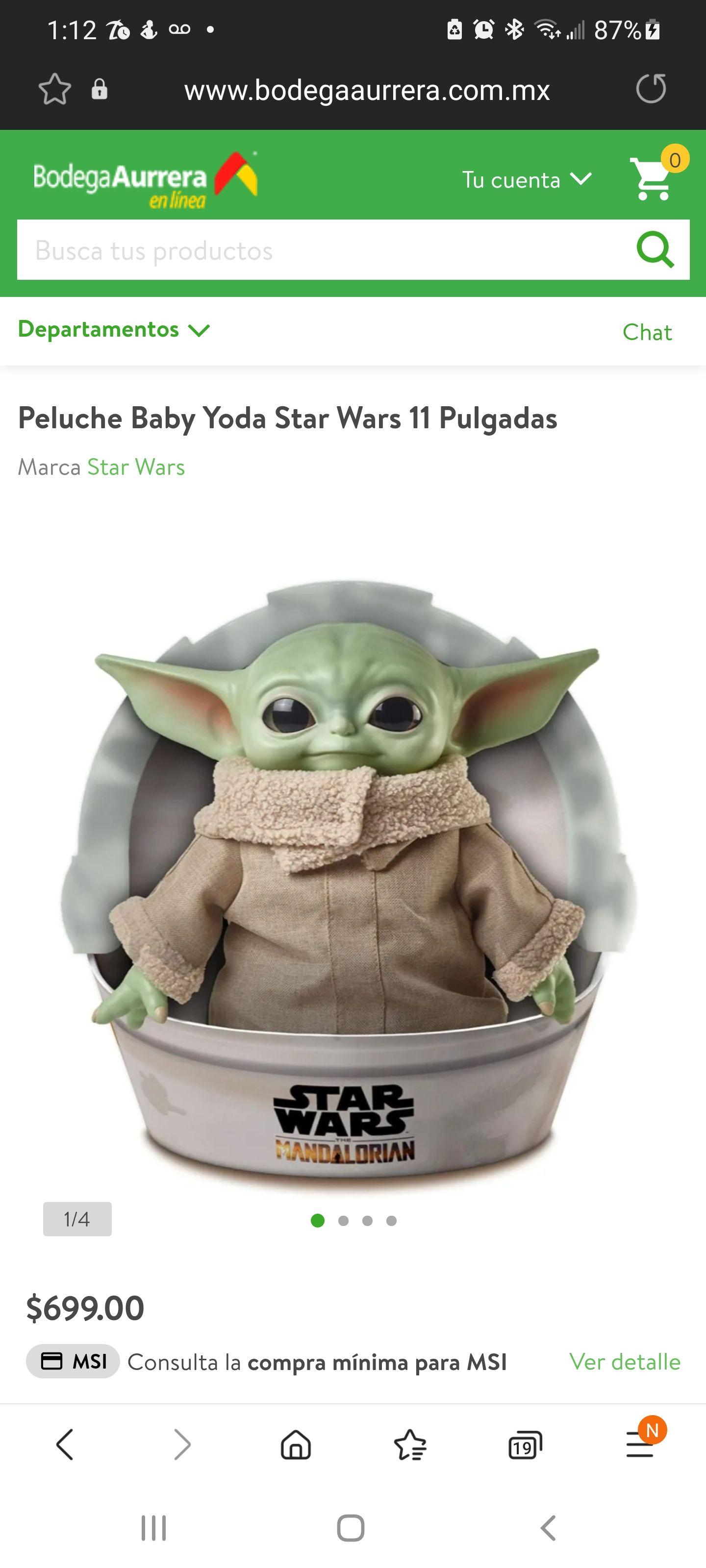 Baby Yoda en la página de Bodega Aurrera