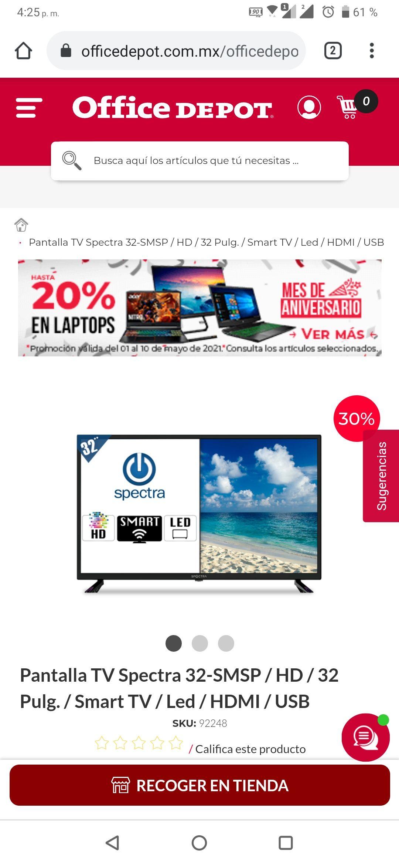 Office Depot: Pantalla TV Spectra 32-SMSP / HD / 32 Pulg. / Smart TV / Led / HDMI / USB