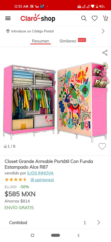 Claro Shop: Closet Grande armable portátil con funda estampada