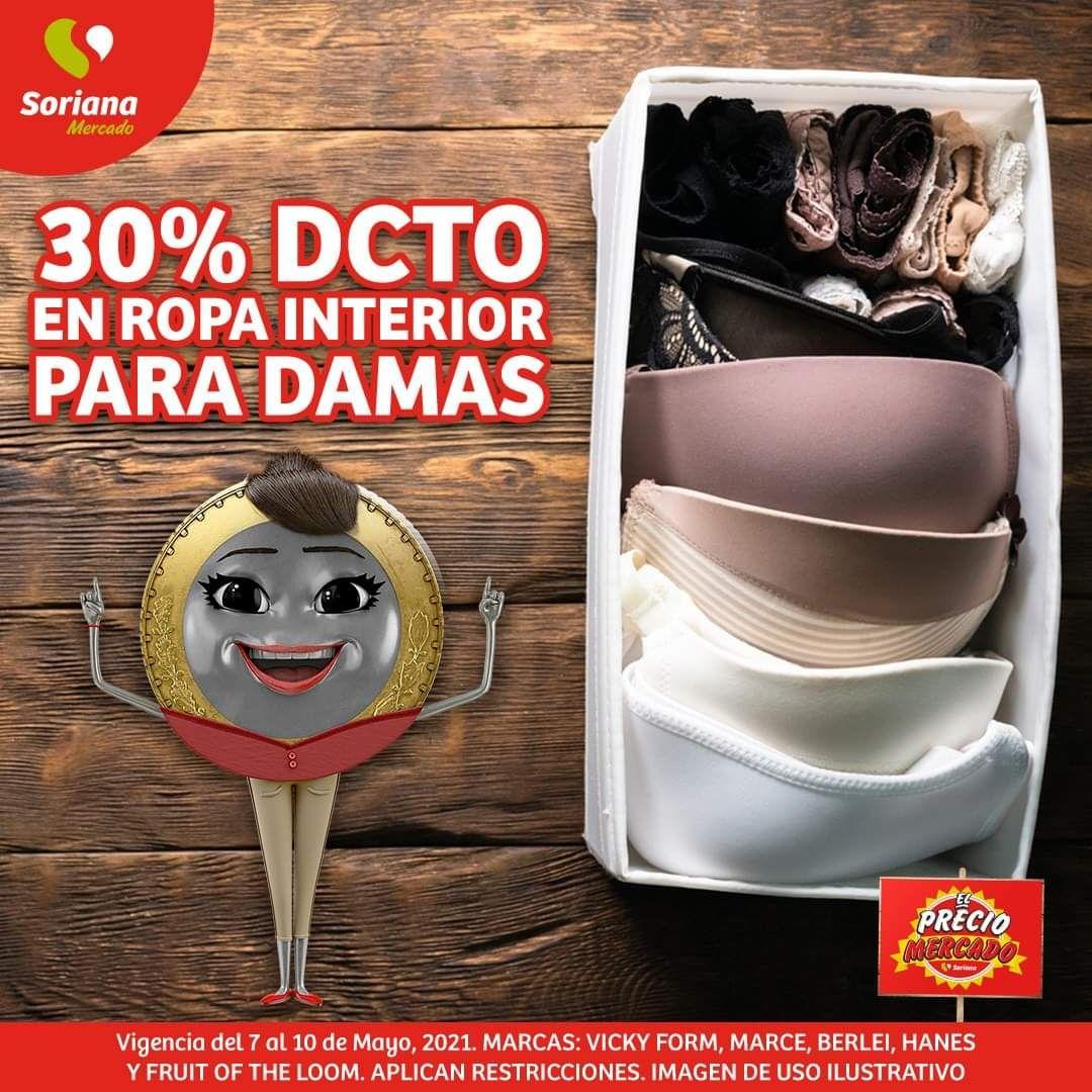 Soriana Mercado y Express: 30% de descuento en ropa interior para damas
