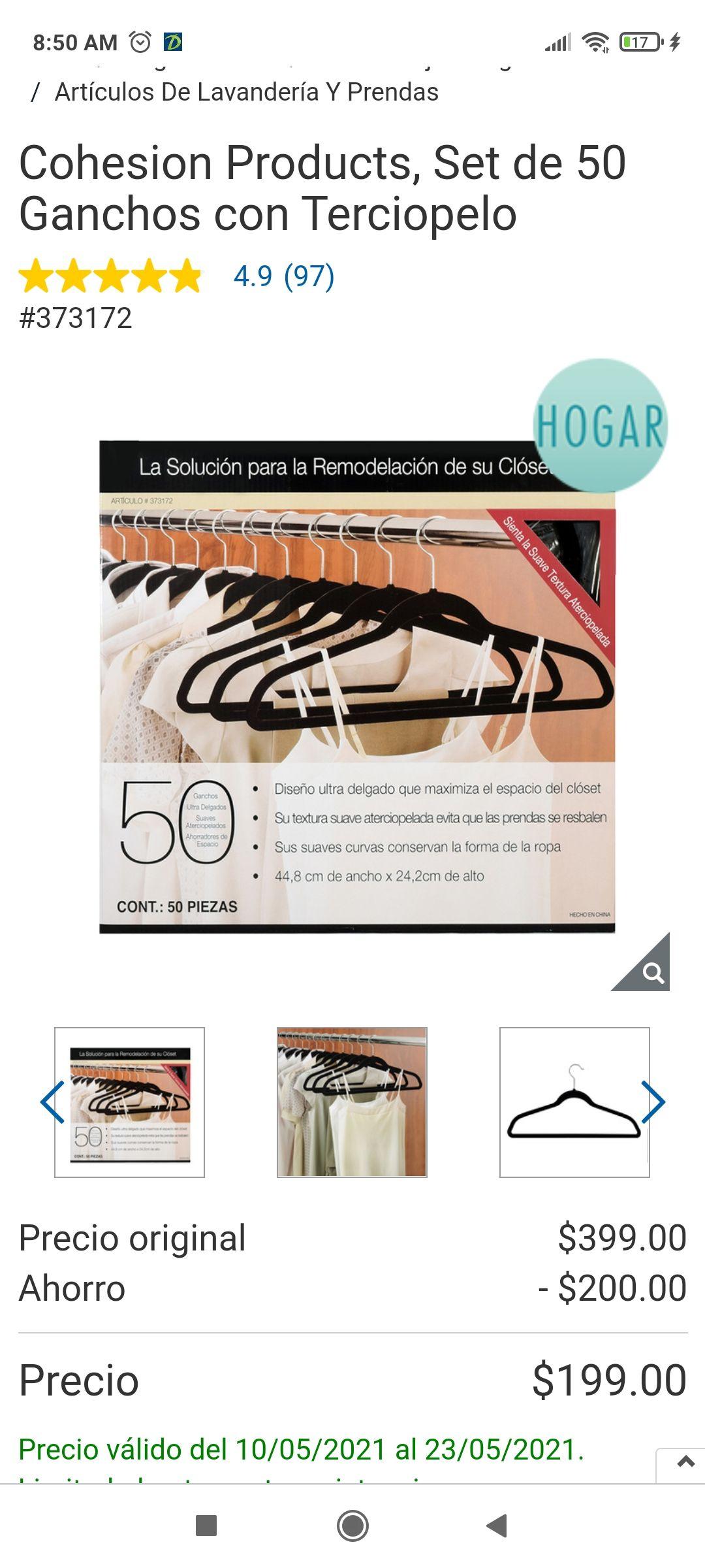 Costco: Cohesion Products, Set de 50 Ganchos con Terciopelo