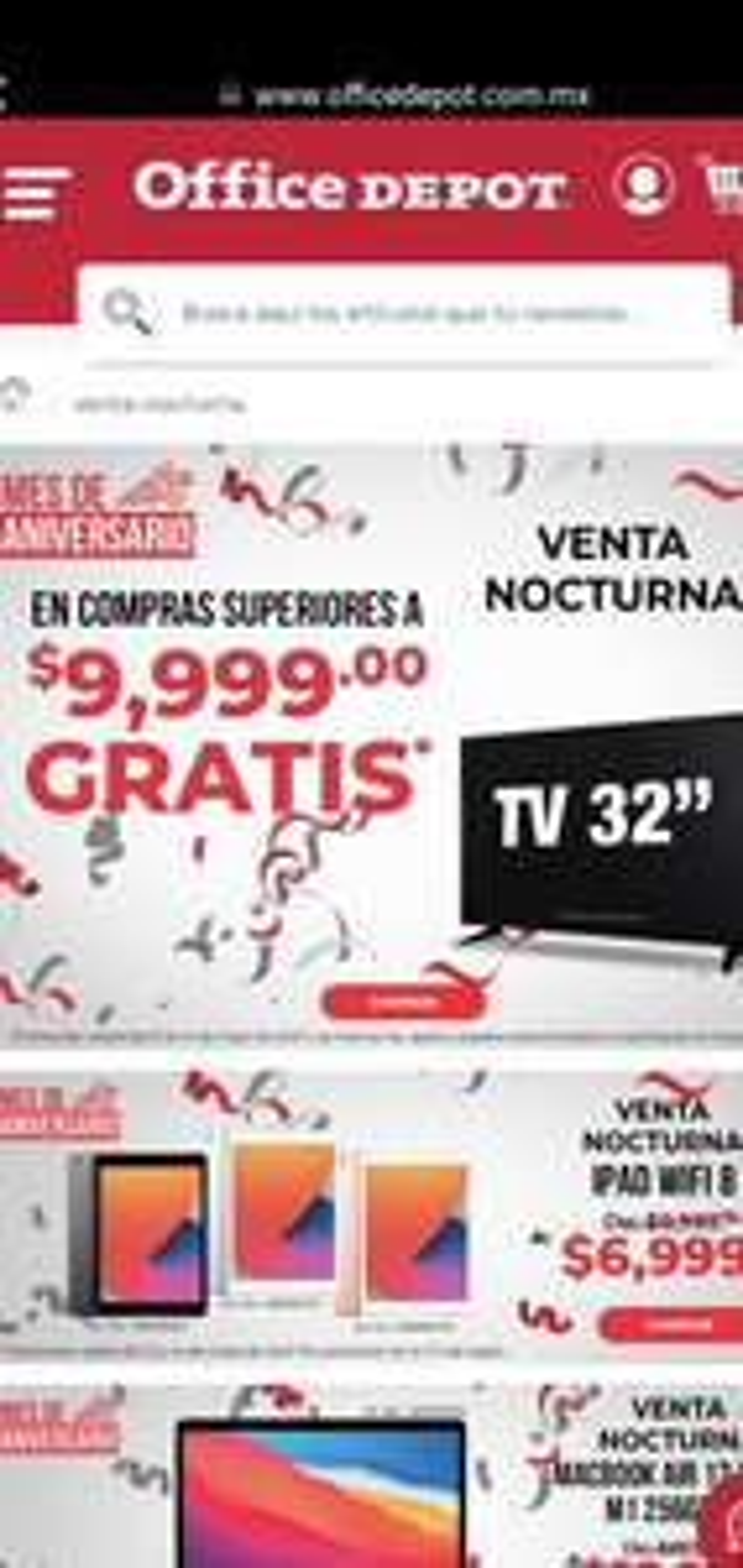 Office Depot: Venta nocturna, Pantalla Gratis En Compras Superiores a $ 9,999 (13 y 14 de Mayo)