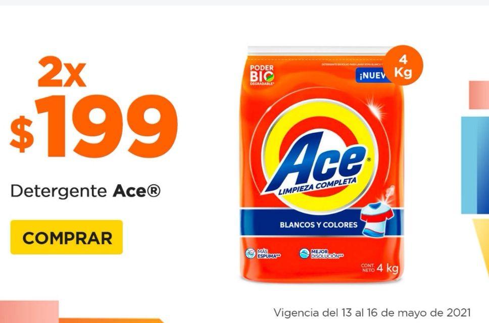 Chedraui: Detergentes en polvo Ace 4 kg. (2 x $199)