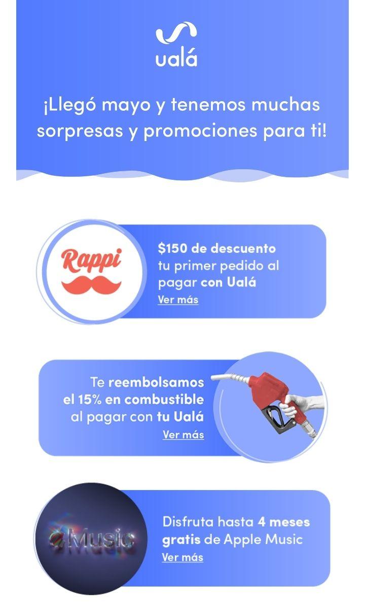 Desempolva tu Ualá 2 - promociones de mayo, rappi, didi, uber, combustible y más