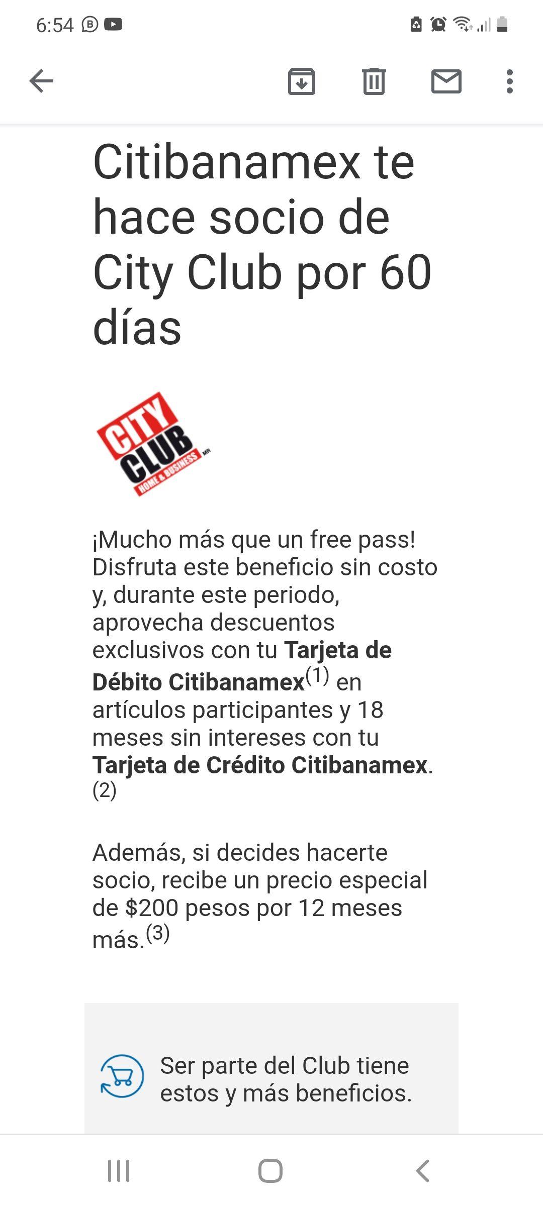 Citibanamex: Free Pass City Club por 60 días