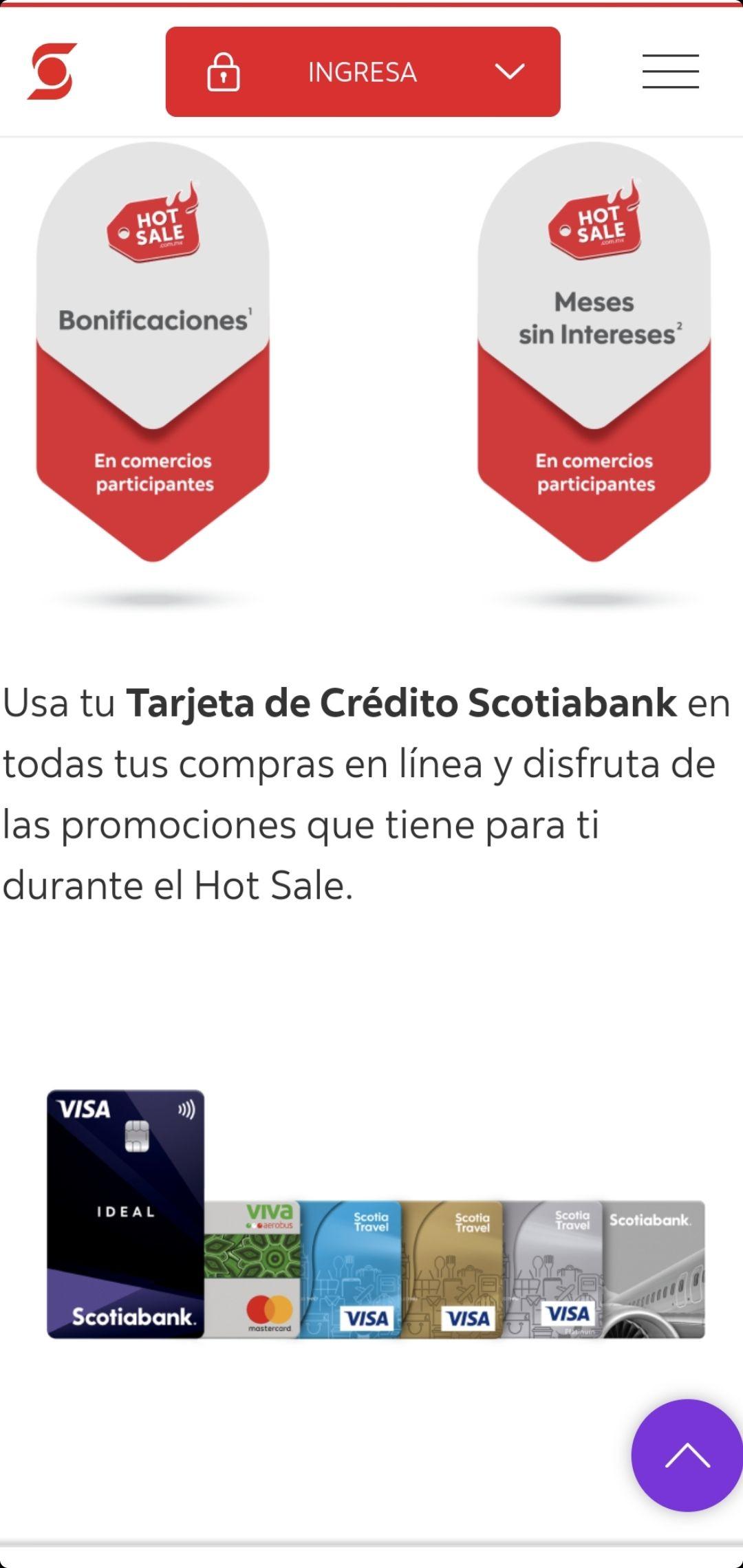 Hot Sale: 15% de Bonificacion con TDC SCOTIABANK del 24 al 31 de mayo, compras mayores a: $2,500, sólo 2,650 bonificaciones