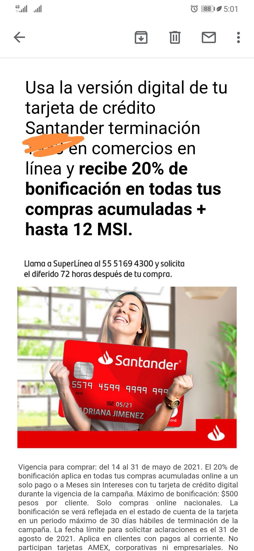 Santander 20% de bonificación con tarjeta digital del 14 al 31 de mayo