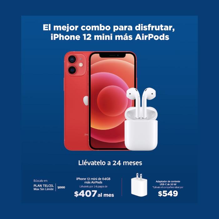 Telcel: Promoción plan Max sin límite 500 + iphone 12 mini 64Gb + AirPods