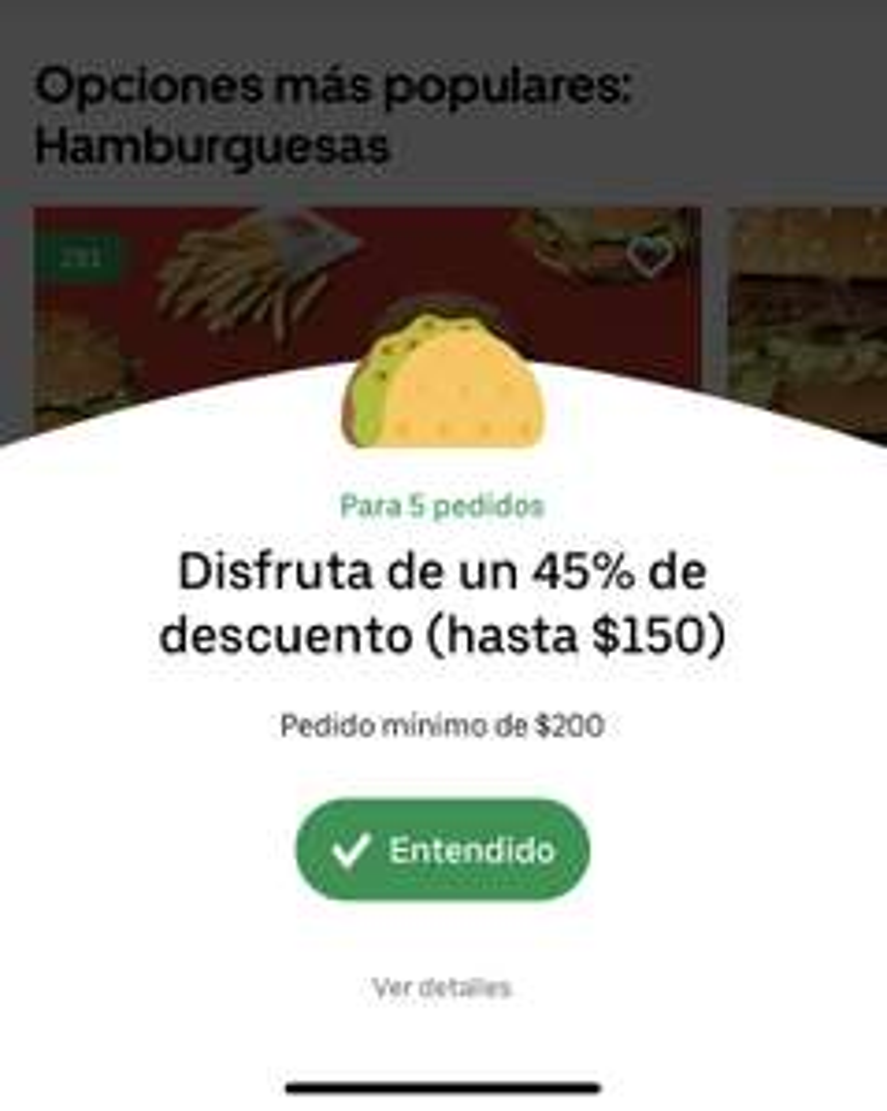 Uber Eats: 45% de Descuento en 5 pedidos (minimo $200) Rest Seleccionados