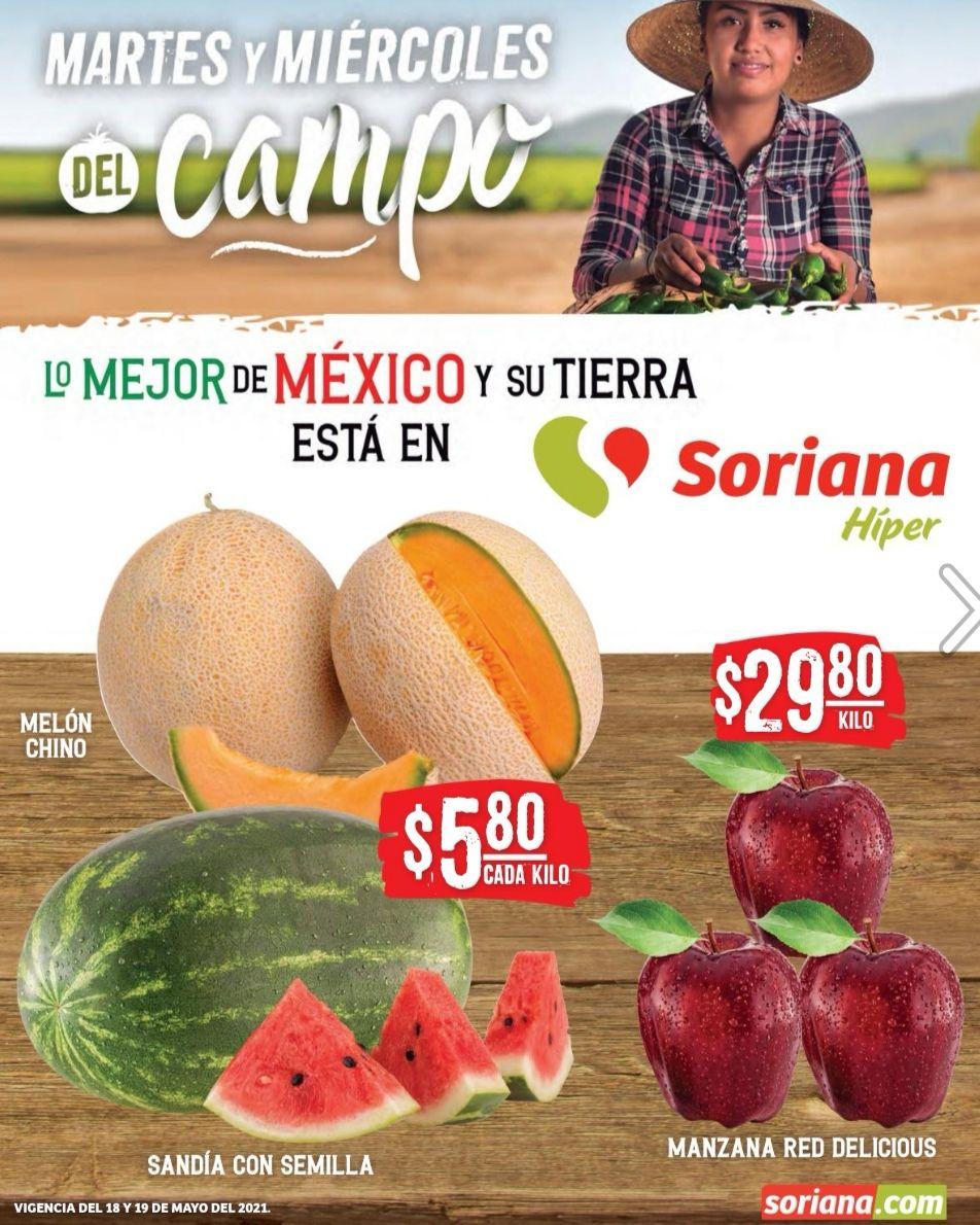 Soriana Híper y Súper: Martes y Miércoles del Campo 18 y 19 Mayo: Melón ó Sandía $5.80 kg... Manzana Red $29.80 kg.