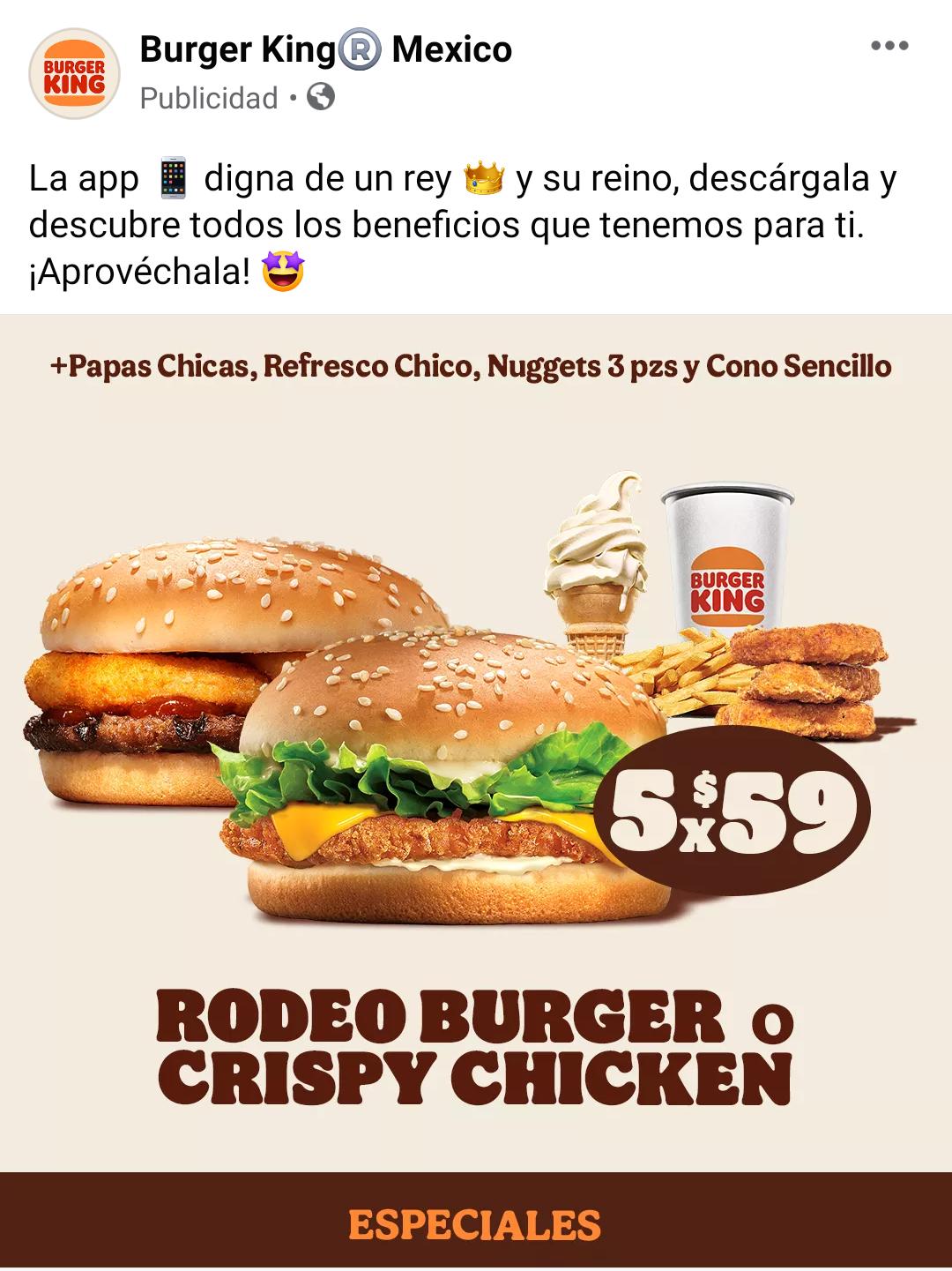 Burger King: Hamburguesa + Papas Chicas +Refresco Chico + Nuggets 3 piezas + Cono Sencillo x 59