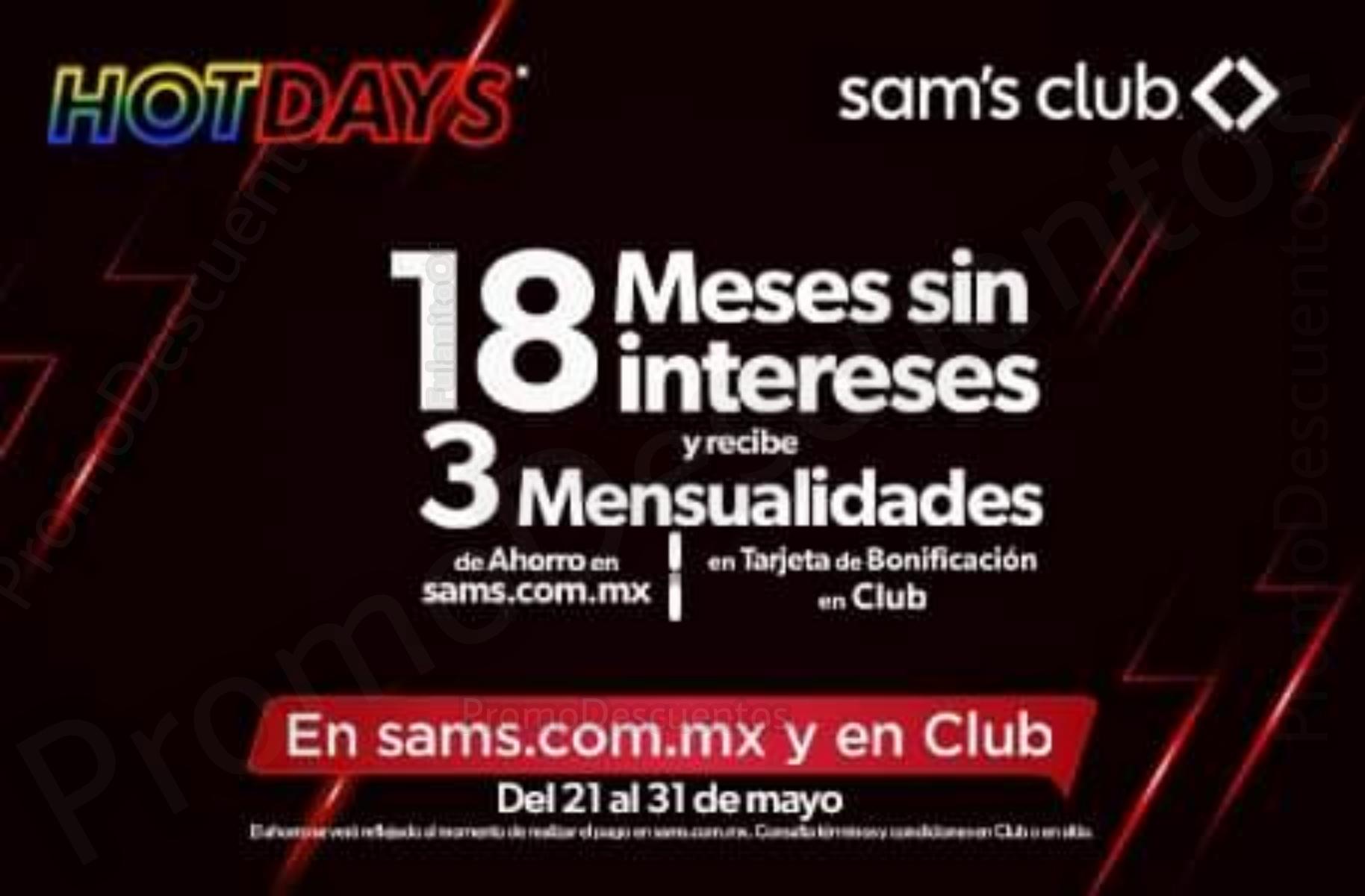 Hot Days 2021 en Sam's Club: Promociones/Bonificación Bancarias
