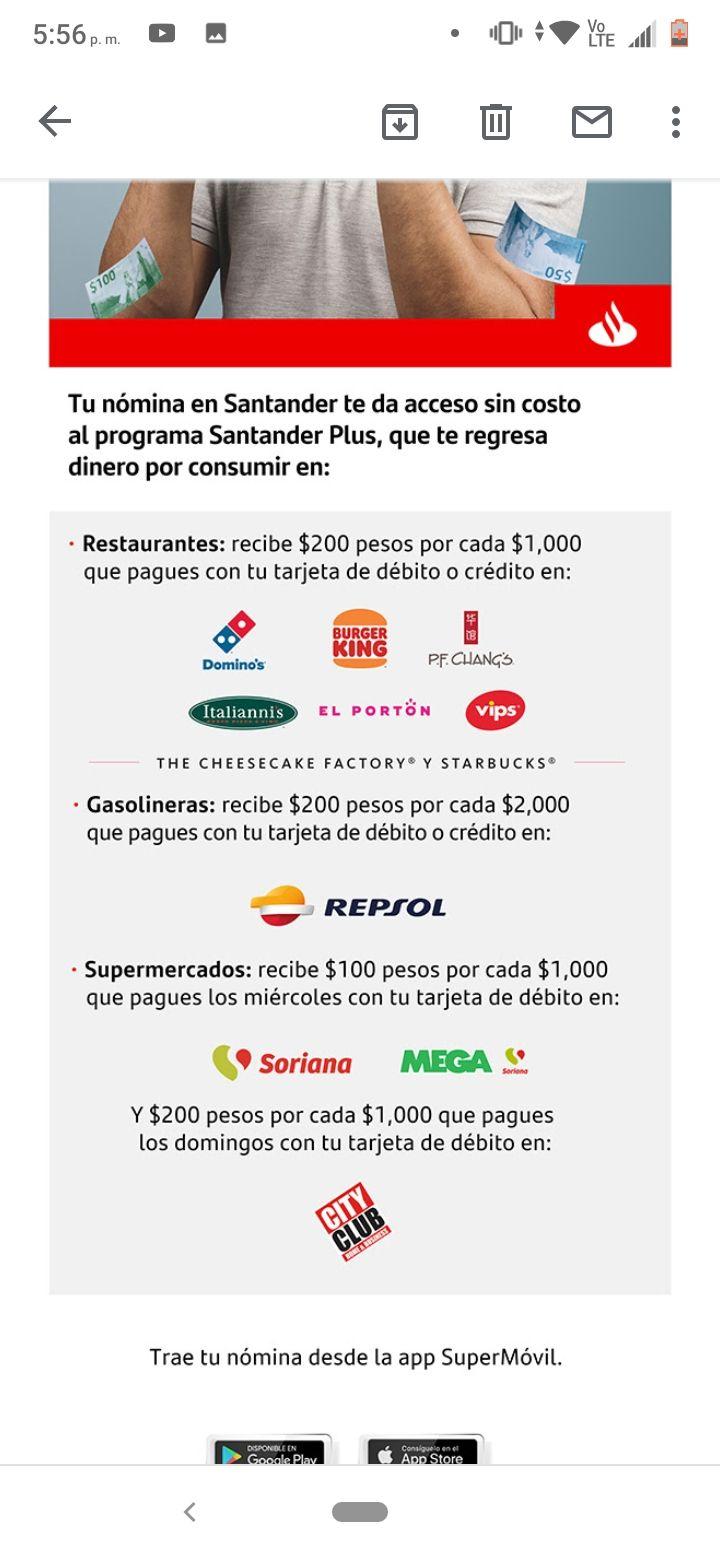 Santander Plus te regresa dinero por consumir en Grupo Alsea, tarjetas de débito y crédito