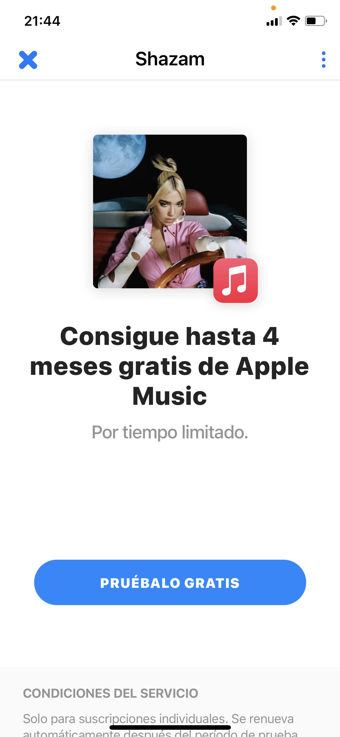 Shazam: 4 meses gratis de Apple Music