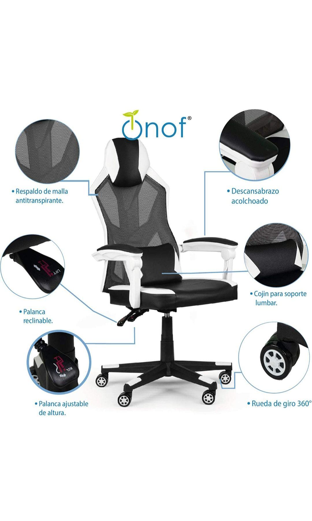 Amazon: Onof Silla Gamer PC Reclinable Soporte Lumbar Diseño Ergonomico