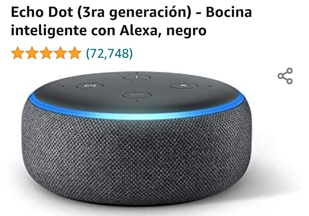 Amazon: Alexa Echo Dot 3era Generacion Negro