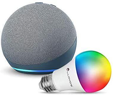 Amazon: Echo Dot (4ta Gen) con Lloyds Foco Inteligente WiFi, Multicolor + Luz Blanca Fría y Cálida, Azul