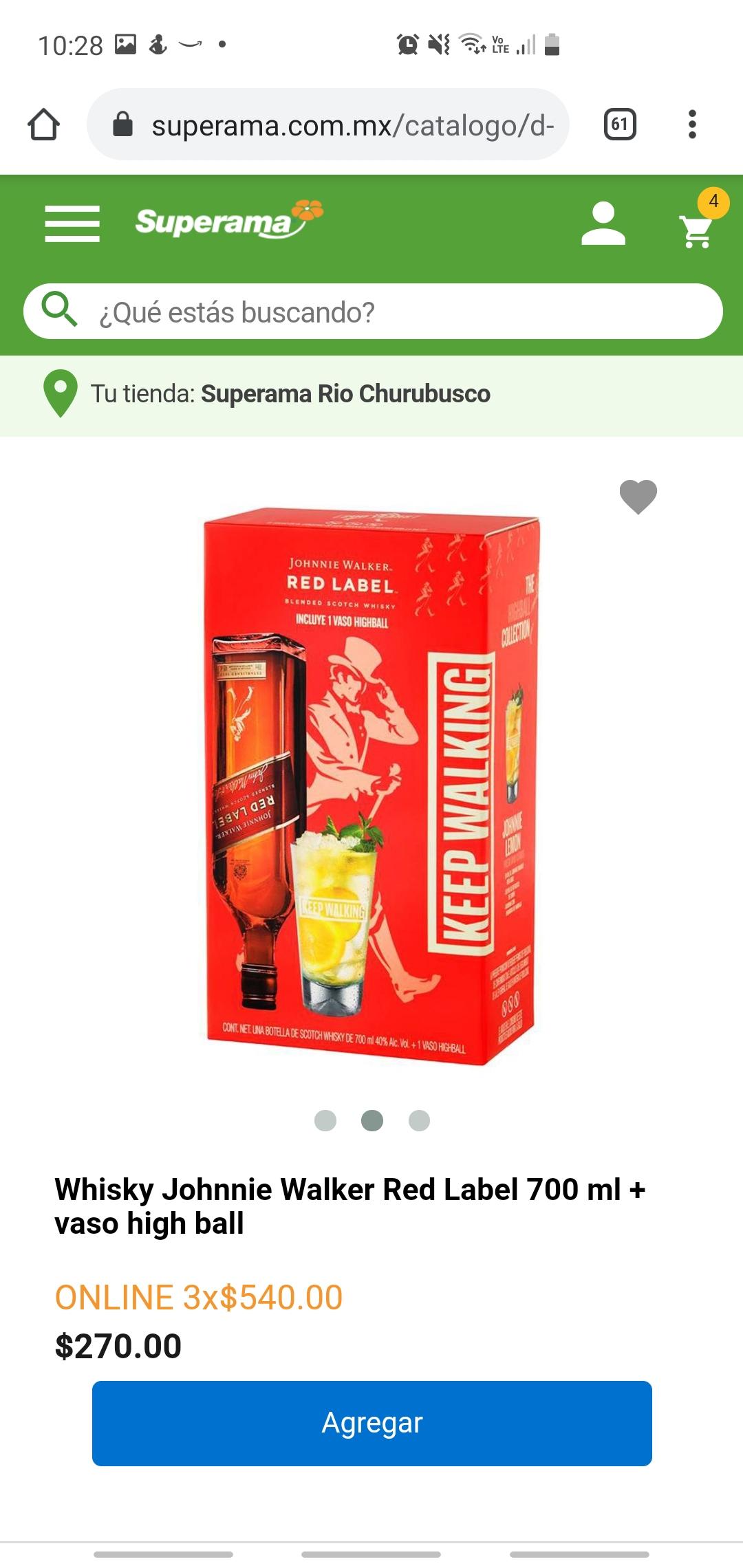 Superama.com: 3x2 Pack Whisky Red Label 700ml + Vaso HighBall ($180 cada pack)