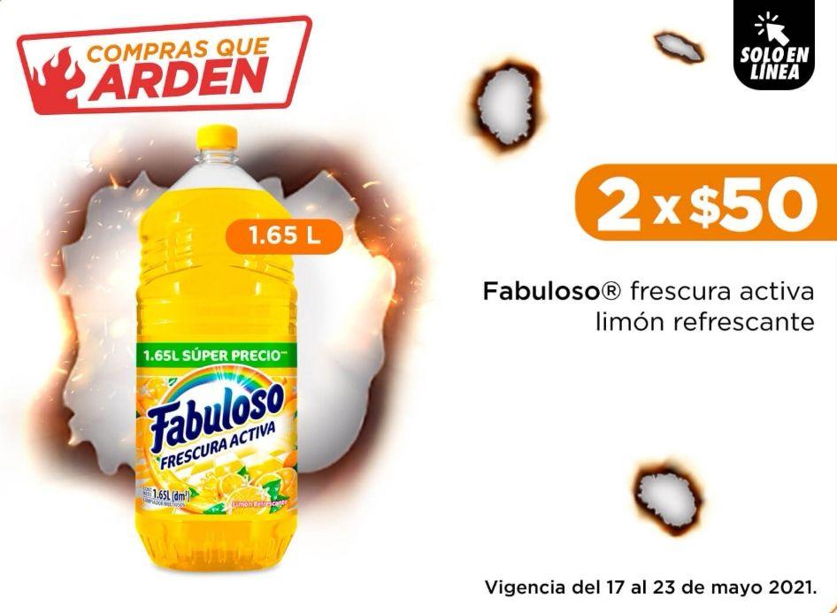 Chedraui: Limpiador Fabuloso Frescura Activa Limón Refrescante 1.65L 2 x $50.00 (solo en tienda en línea)